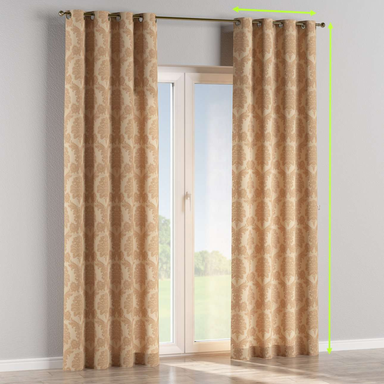 Eyelet curtains in collection Damasco, fabric: 613-04