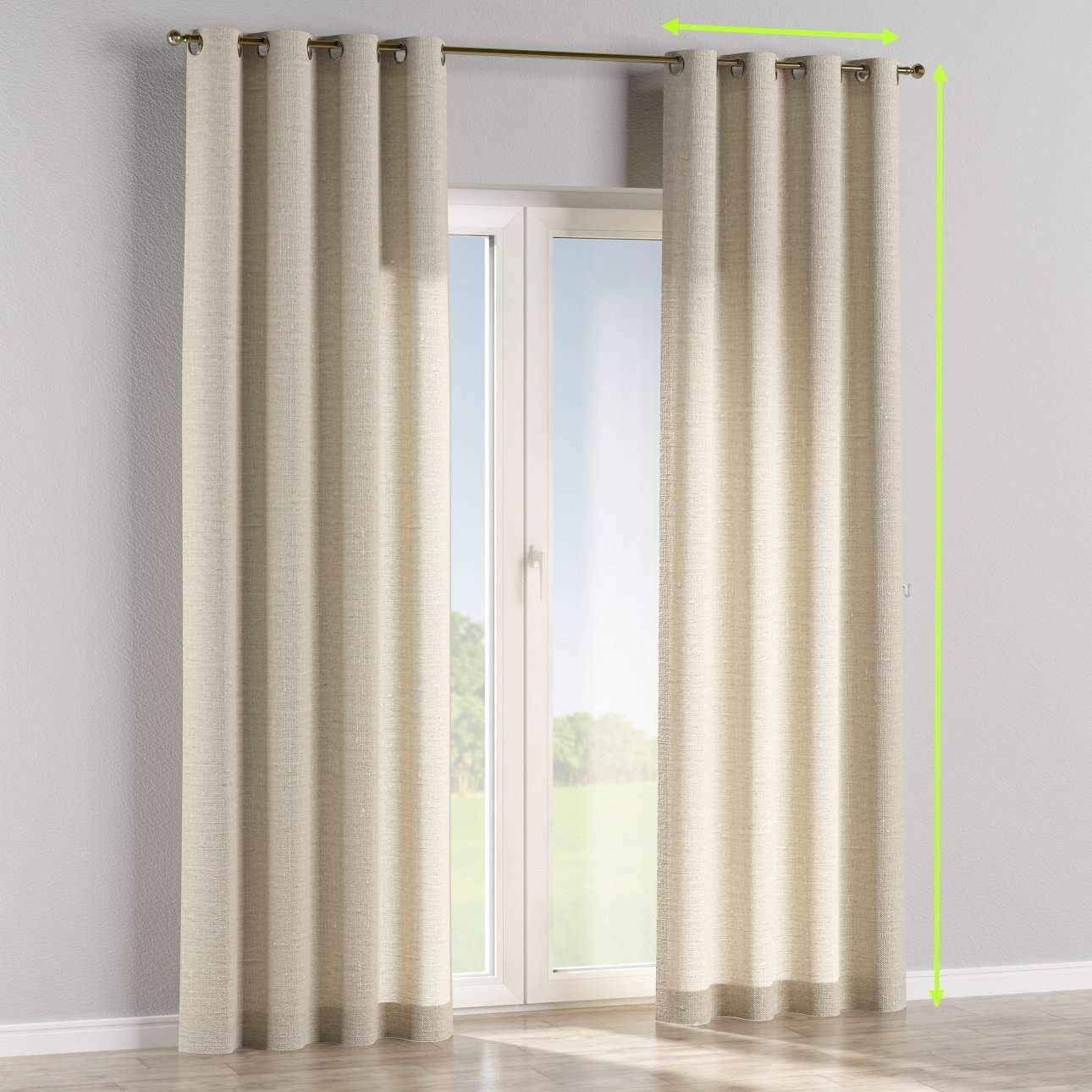 Eyelet curtains in collection Linen, fabric: 392-05