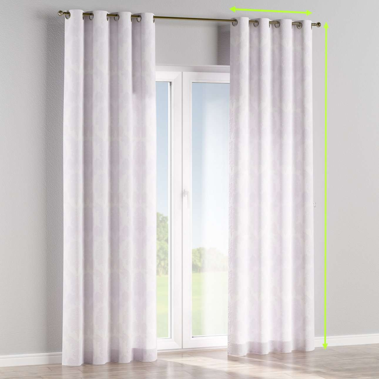 Eyelet curtains in collection Damasco, fabric: 613-00
