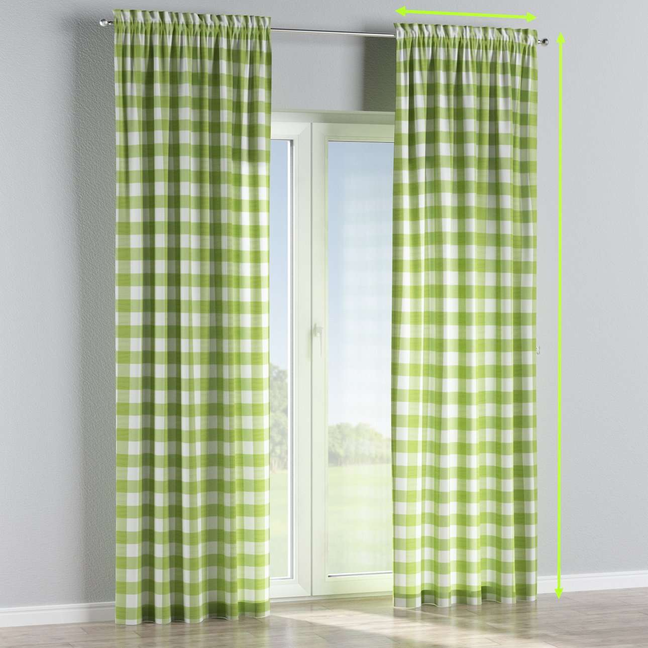 Slot and frill curtains in collection Quadro, fabric: 136-36
