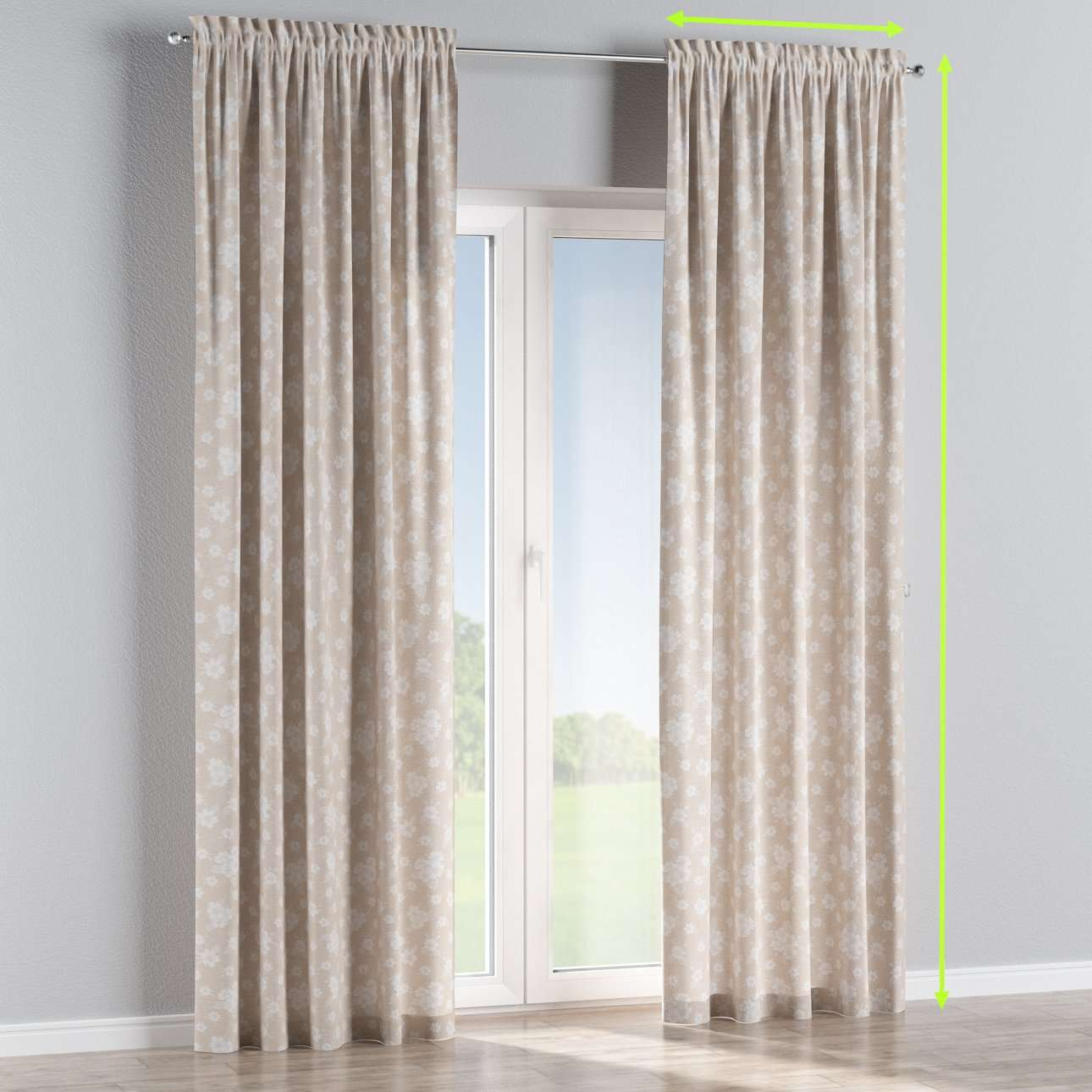 Slot and frill curtains in collection Rustica, fabric: 138-26