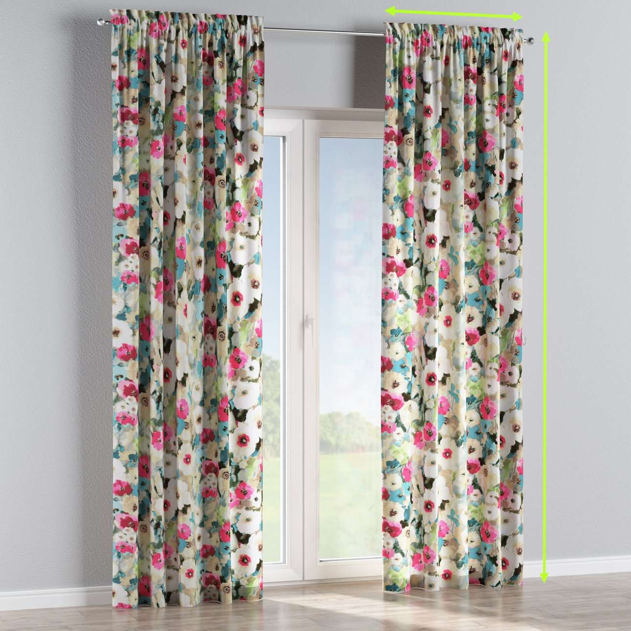 Slot and frill curtains in collection Monet, fabric: 140-08