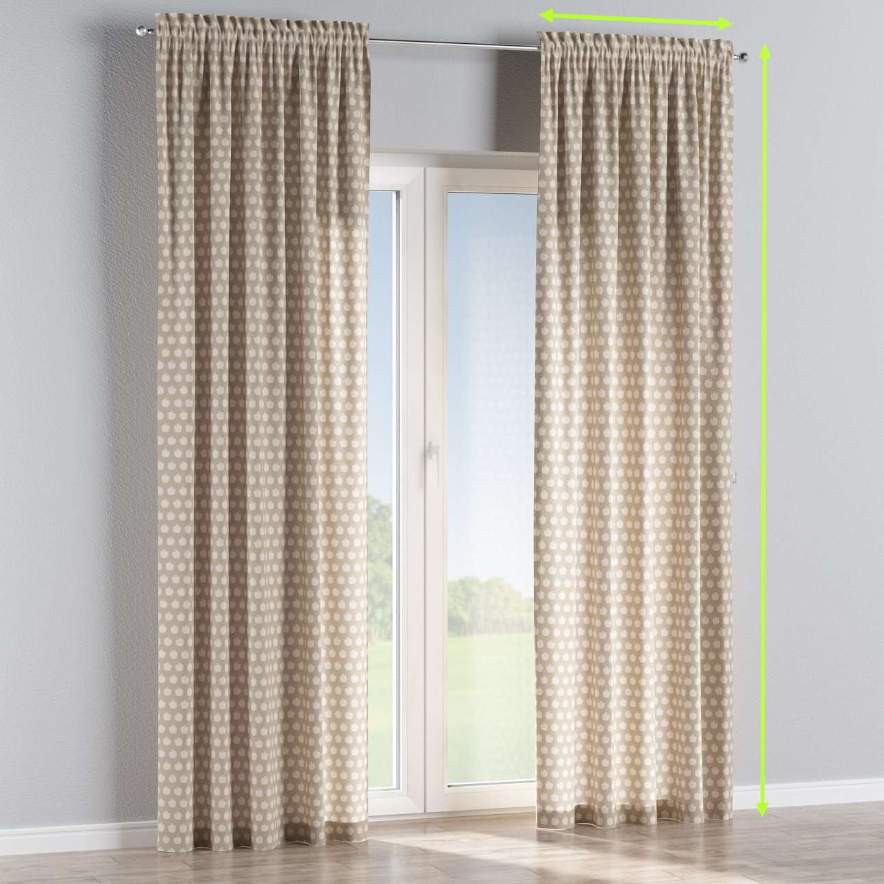 Slot and frill curtains in collection Flowers, fabric: 140-55
