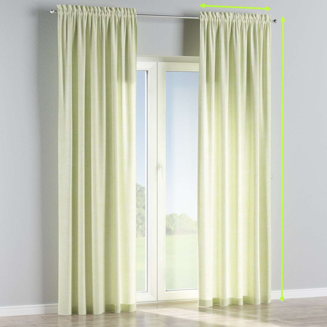 Slot and frill curtains in collection Aquarelle, fabric: 140-73