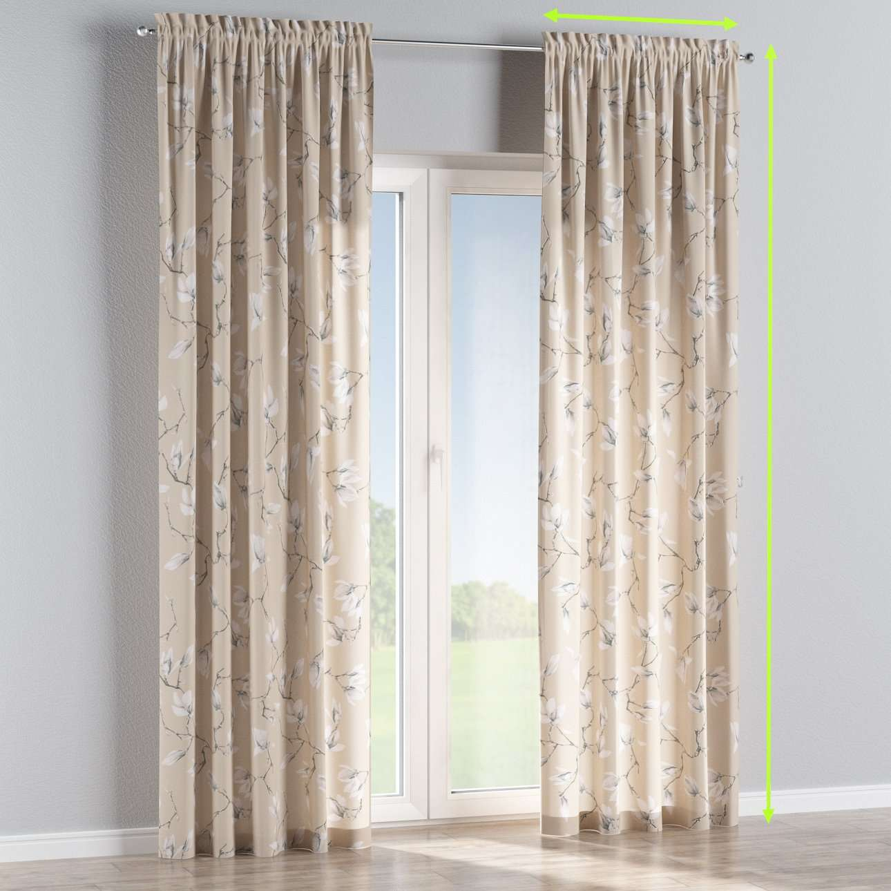 Slot and frill curtains in collection Flowers, fabric: 311-12