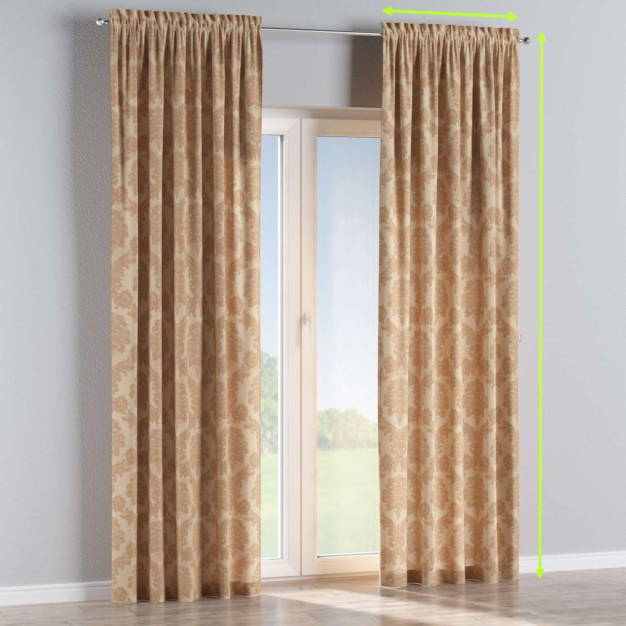Slot and frill curtains in collection Damasco, fabric: 613-04