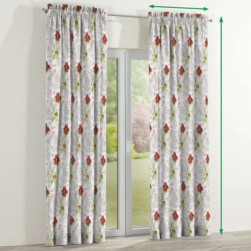 Slot and frill curtains in collection Christmas , fabric: 629-24