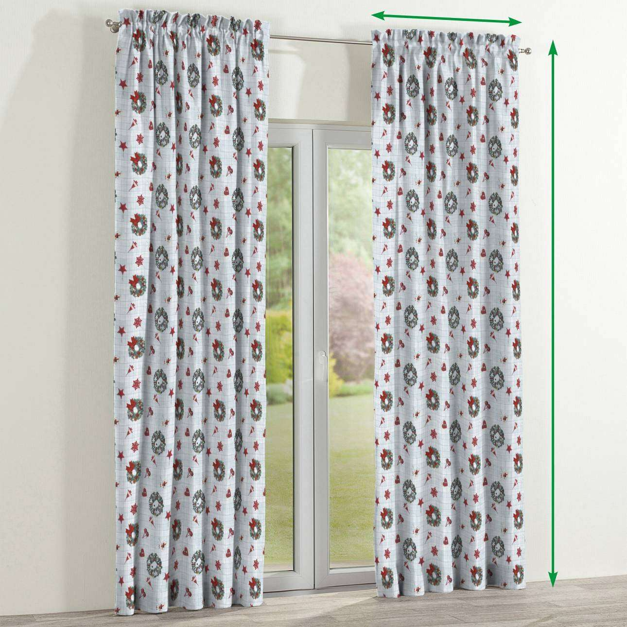 Slot and frill curtains in collection Christmas , fabric: 629-26