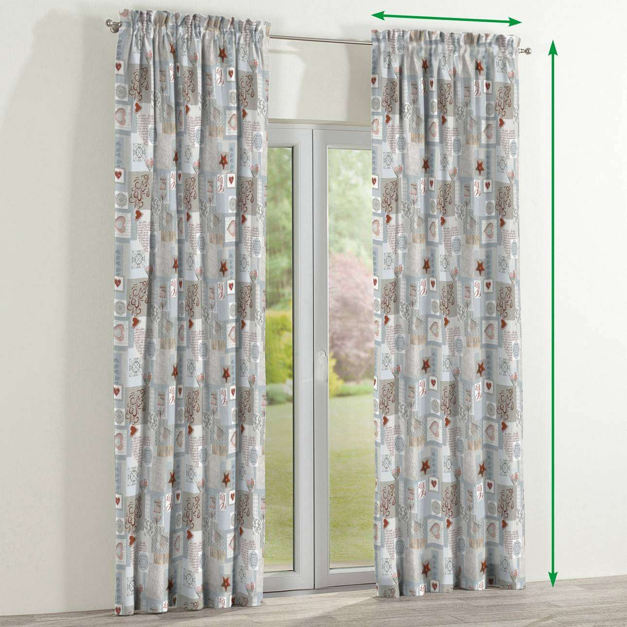 Slot and frill curtains in collection Christmas , fabric: 629-27
