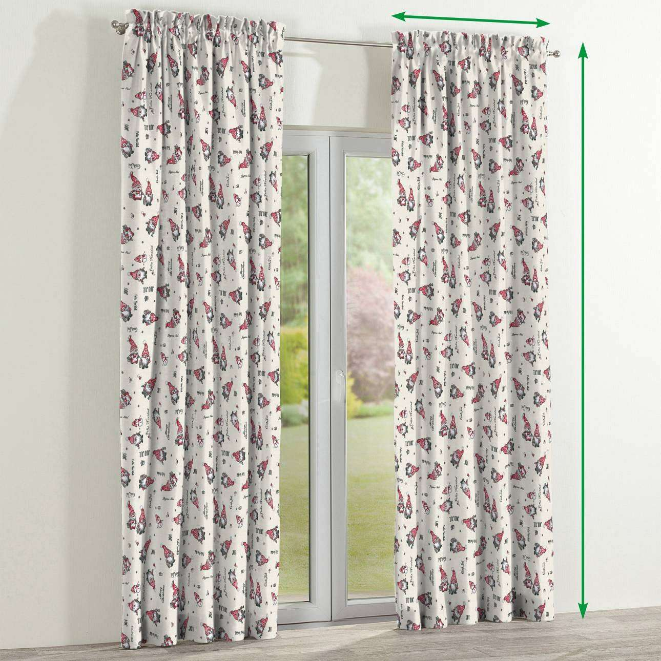 Slot and frill curtains in collection Christmas , fabric: 629-28