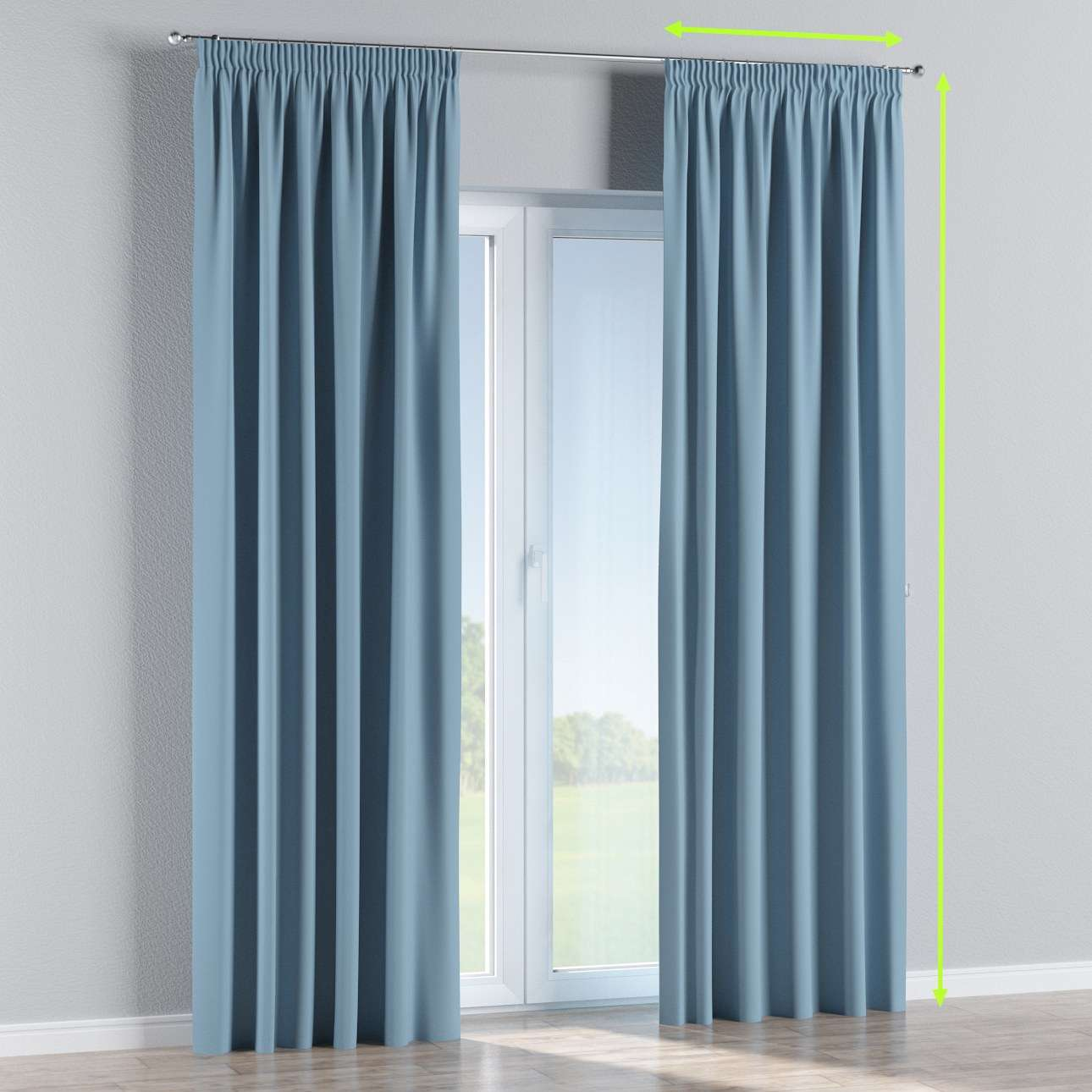 Blackout pencil pleat curtain in collection Blackout, fabric: 269-08