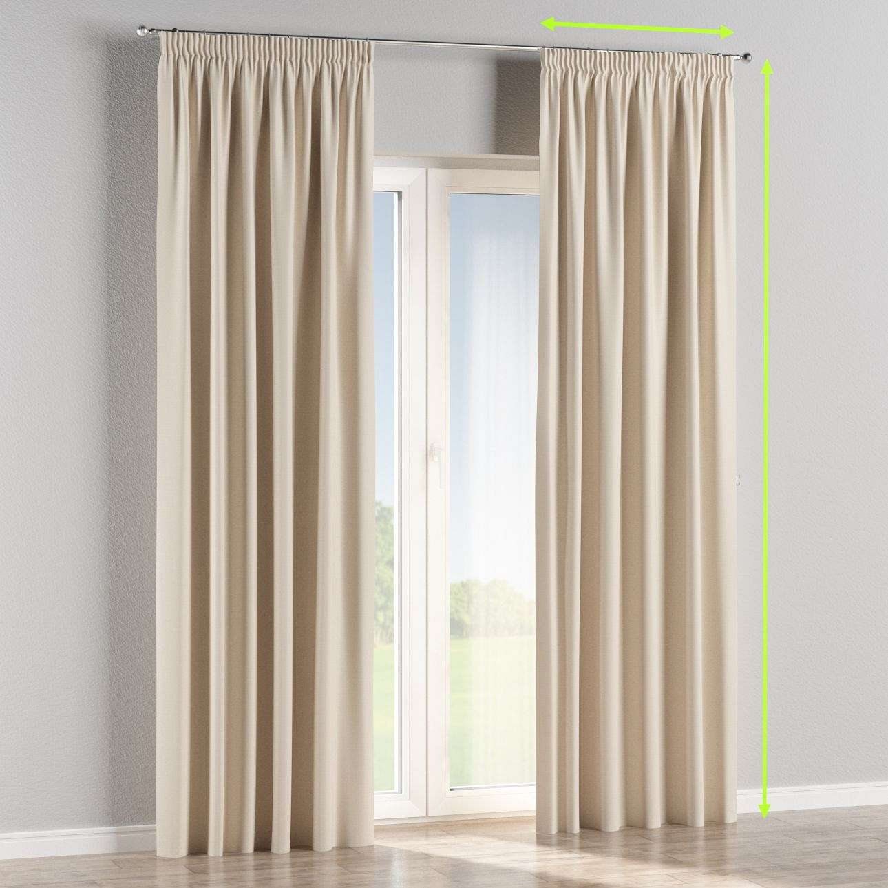 Blackout pencil pleat curtain in collection Blackout, fabric: 269-66