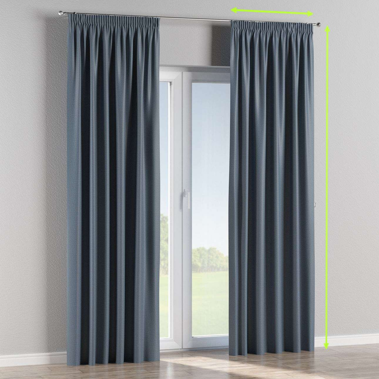 Blackout pencil pleat curtain in collection Blackout, fabric: 269-67