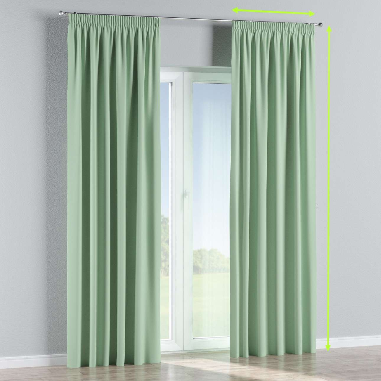 Blackout pencil pleat curtains in collection Blackout, fabric: 269-14