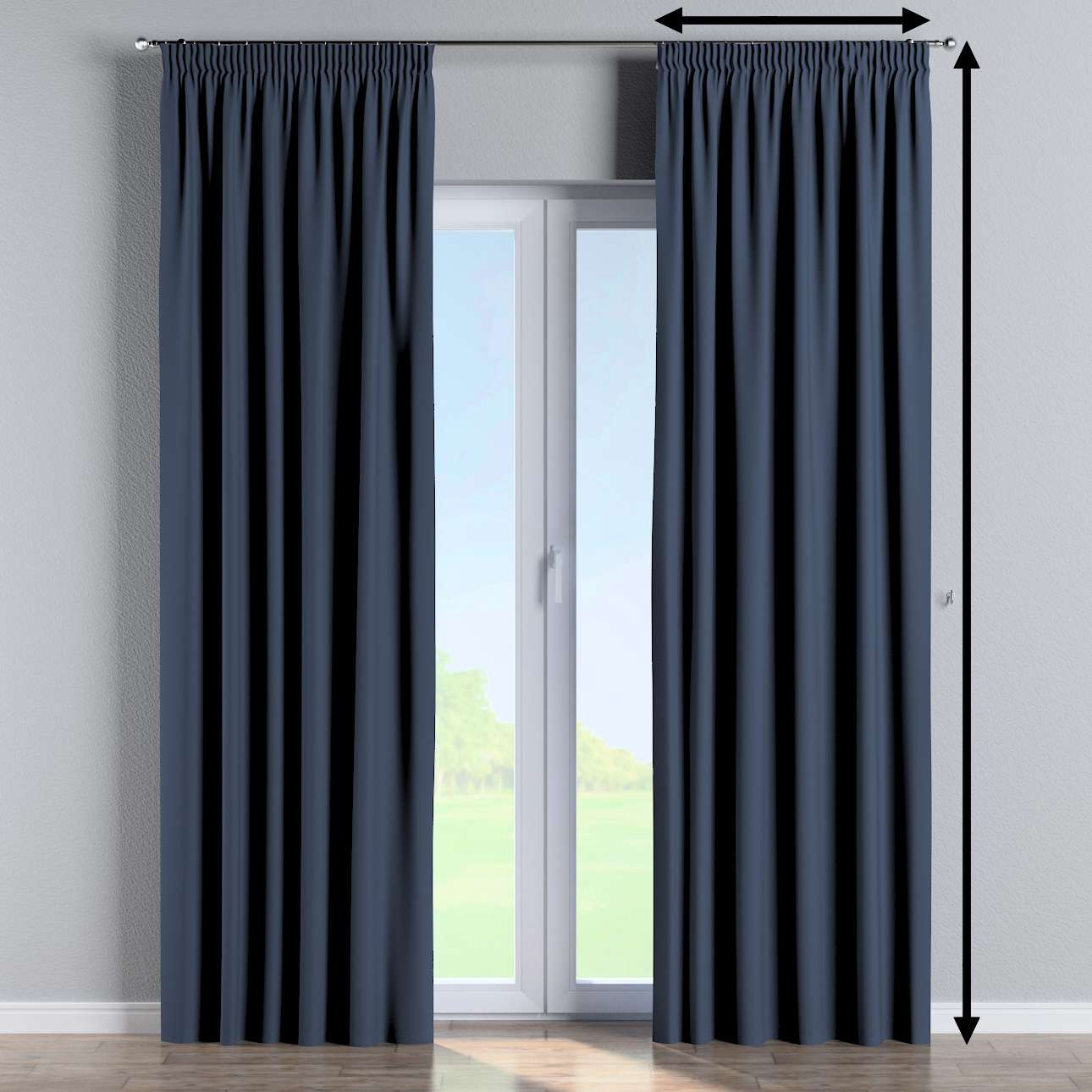 Blackout pencil pleat curtain in collection Blackout, fabric: 269-16