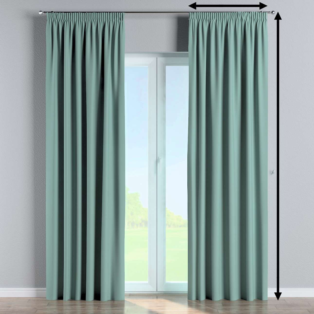 Blackout pencil pleat curtain in collection Blackout 280 cm, fabric: 269-09