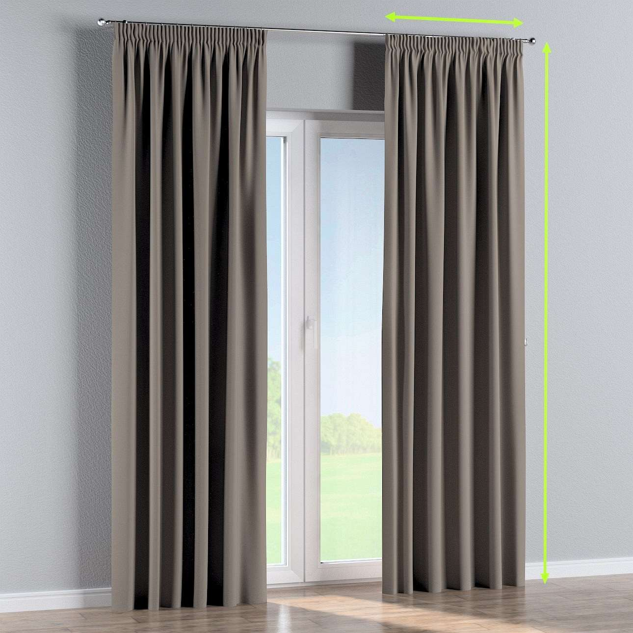 Blackout pencil pleat curtains in collection Blackout, fabric: 269-81