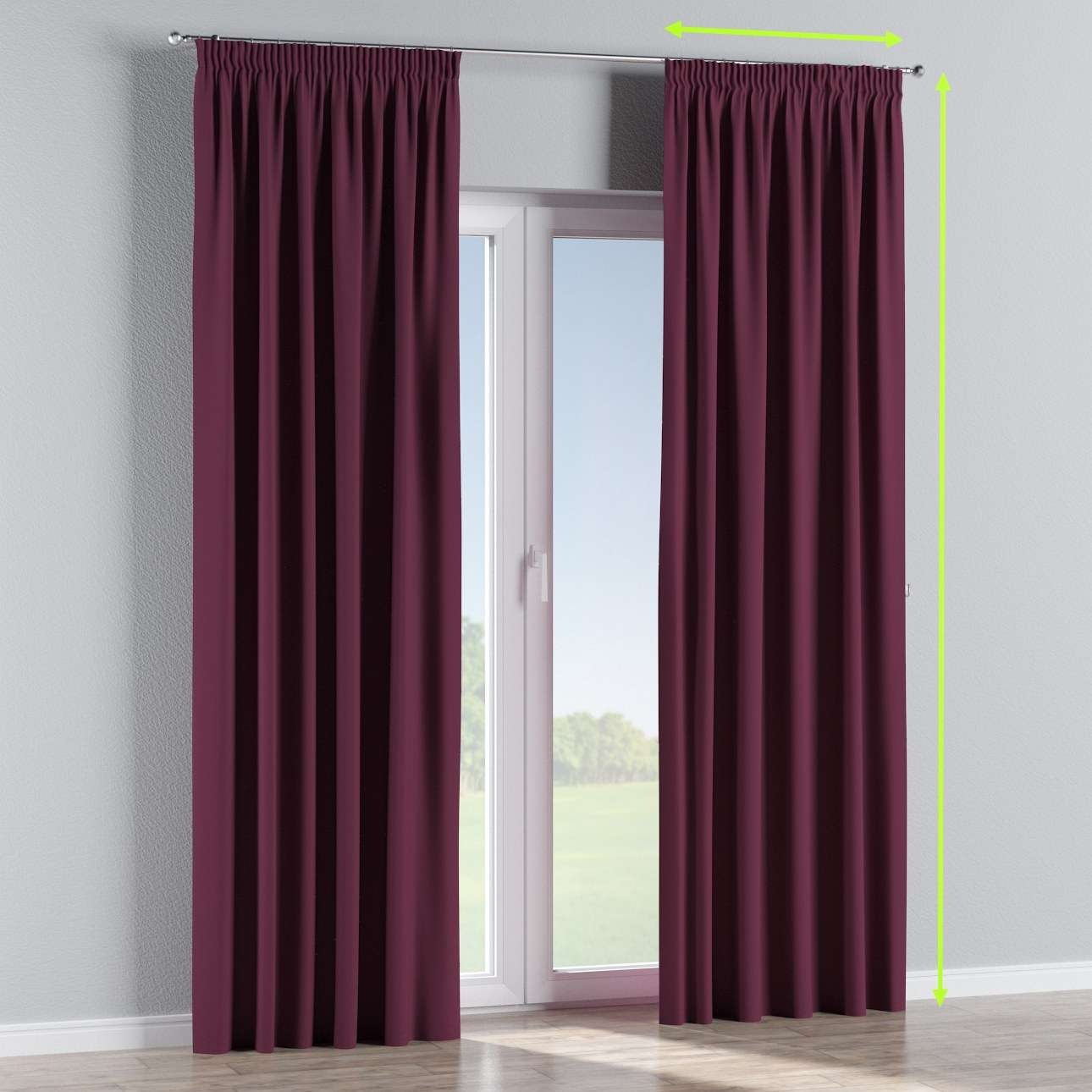 Blackout pencil pleat curtain in collection Blackout, fabric: 269-53