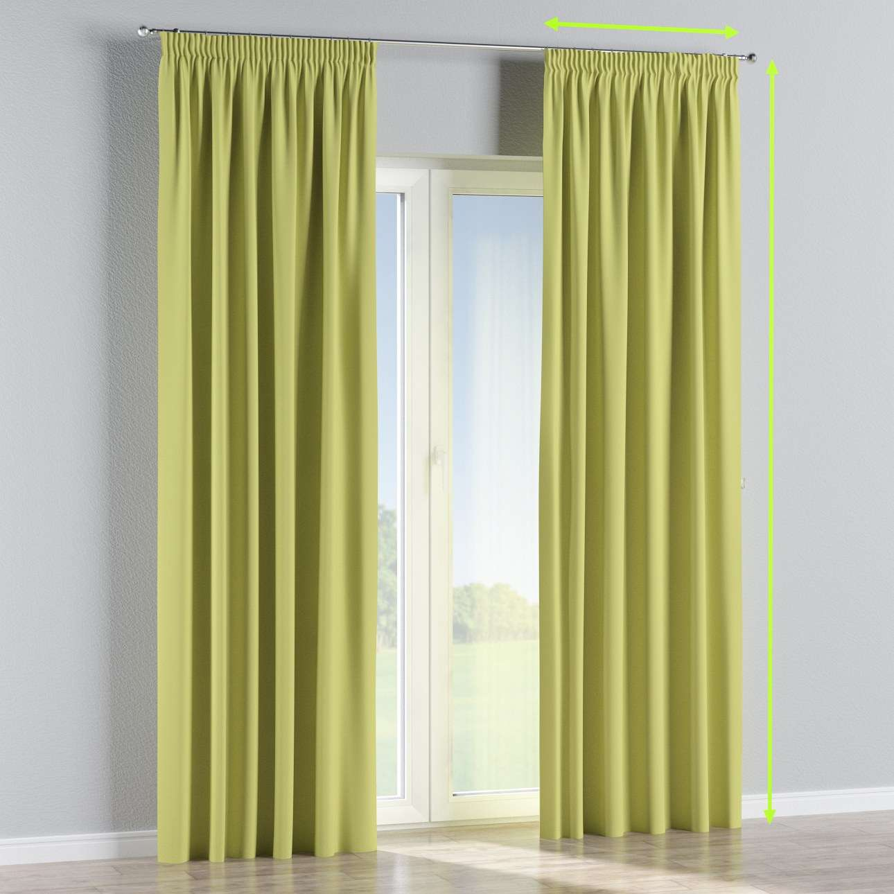Blackout pencil pleat curtain in collection Blackout, fabric: 269-17
