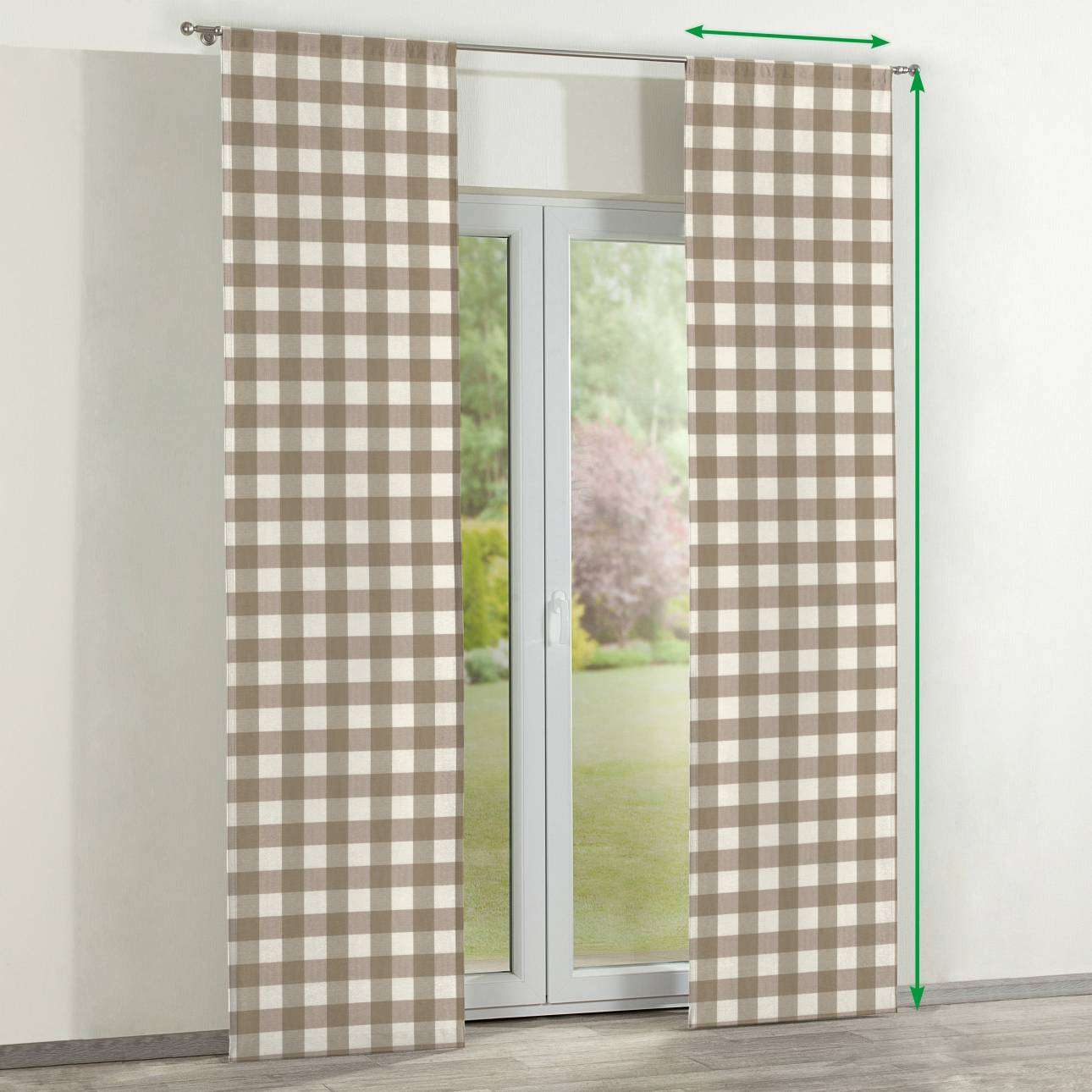 Slot panel curtains – Set of 2 in collection Quadro, fabric: 136-08