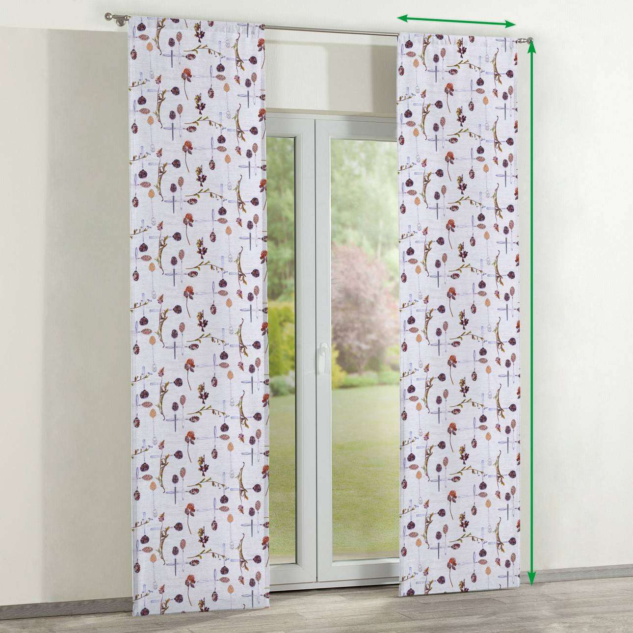 Slot panel curtains – Set of 2 in collection Flowers, fabric: 140-11