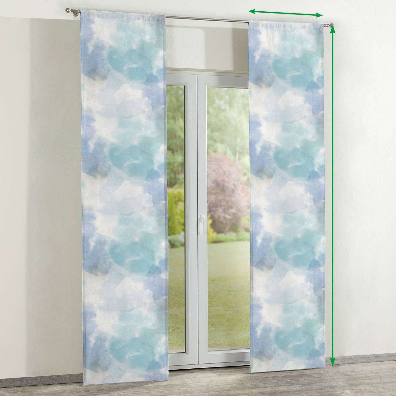 Slot panel curtains – Set of 2 in collection Aquarelle, fabric: 140-67