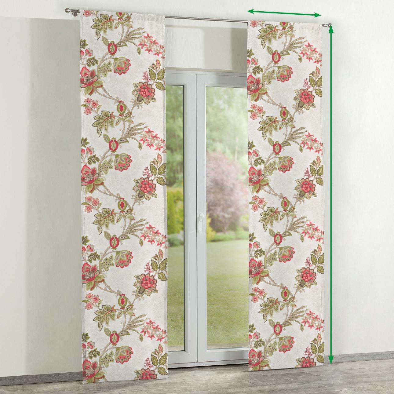 Slot panel curtains – Set of 2 in collection Flowers, fabric: 140-98