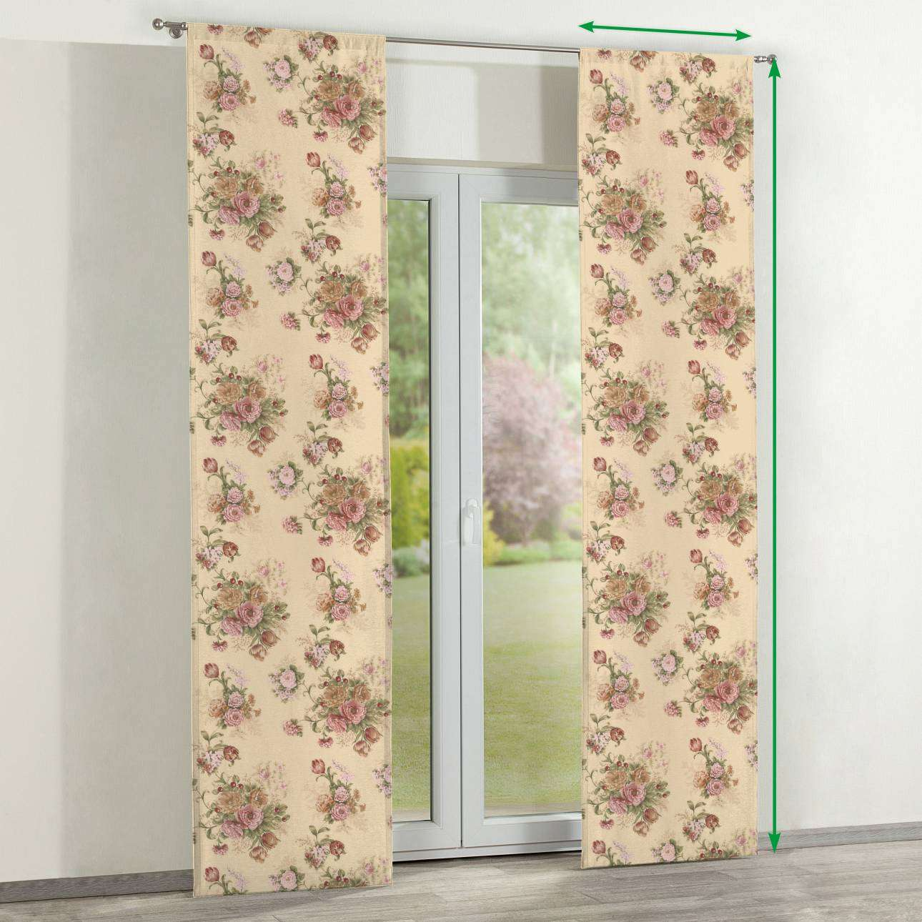 Slot panel curtains – Set of 2 in collection Flowers, fabric: 302-01