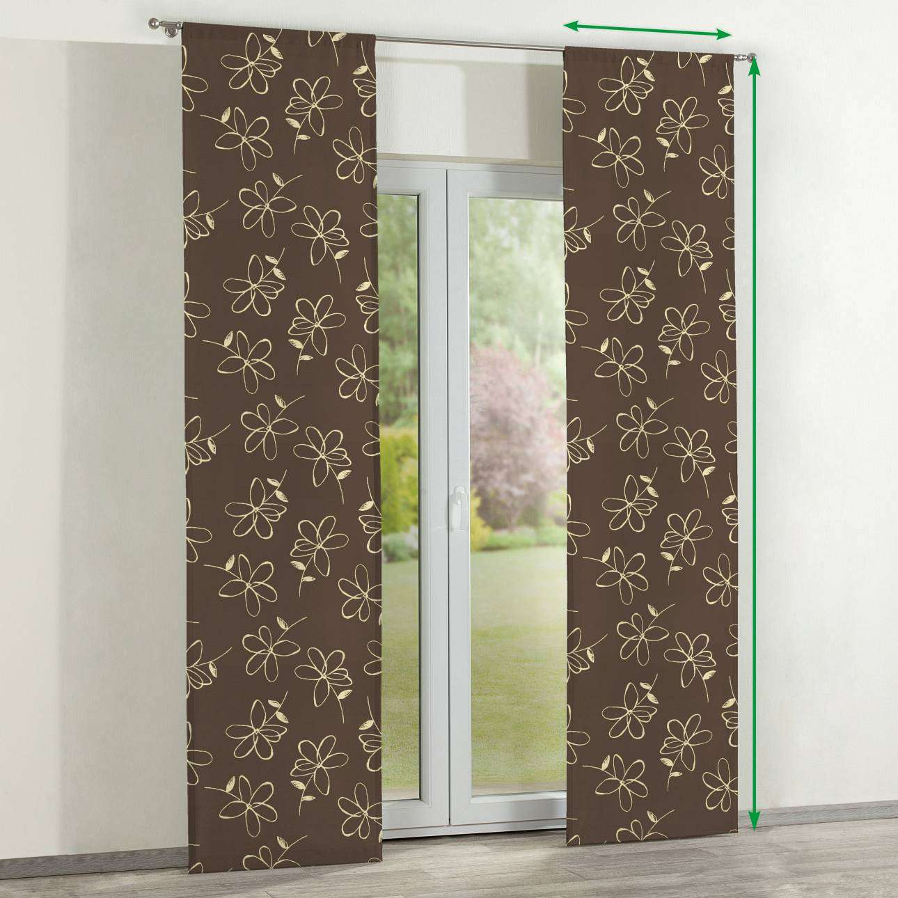 Slot panel curtains – Set of 2 in collection Flowers, fabric: 311-03