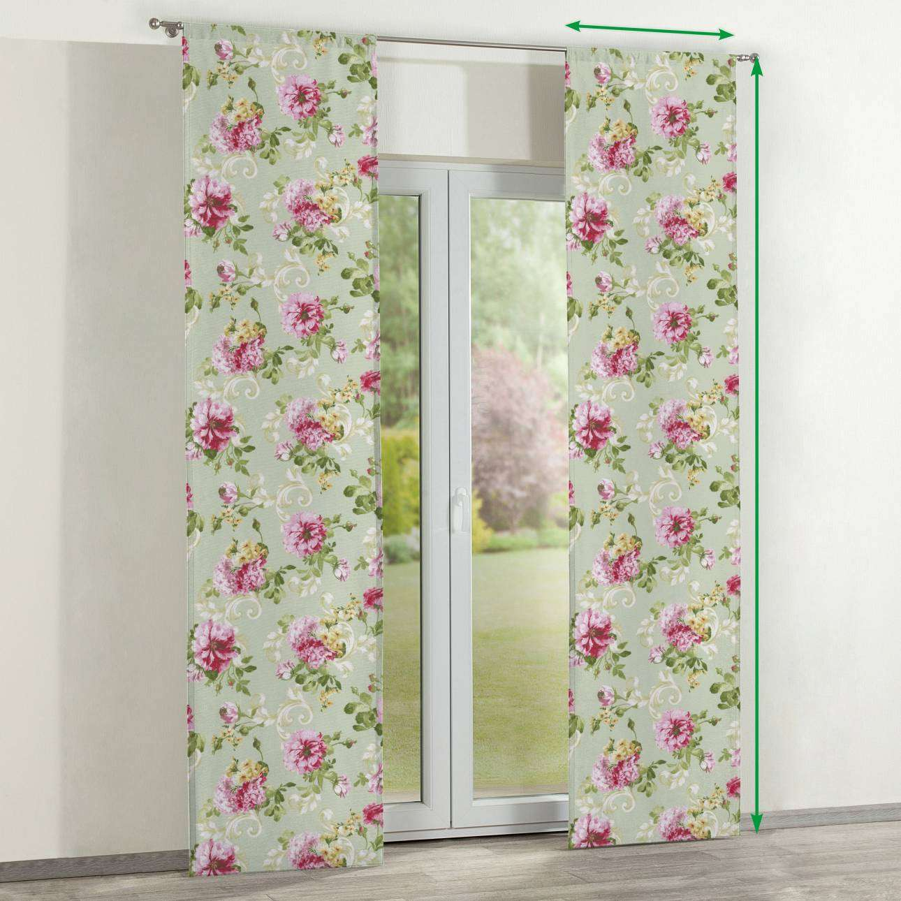 Slot panel curtains – Set of 2 in collection Flowers, fabric: 311-10