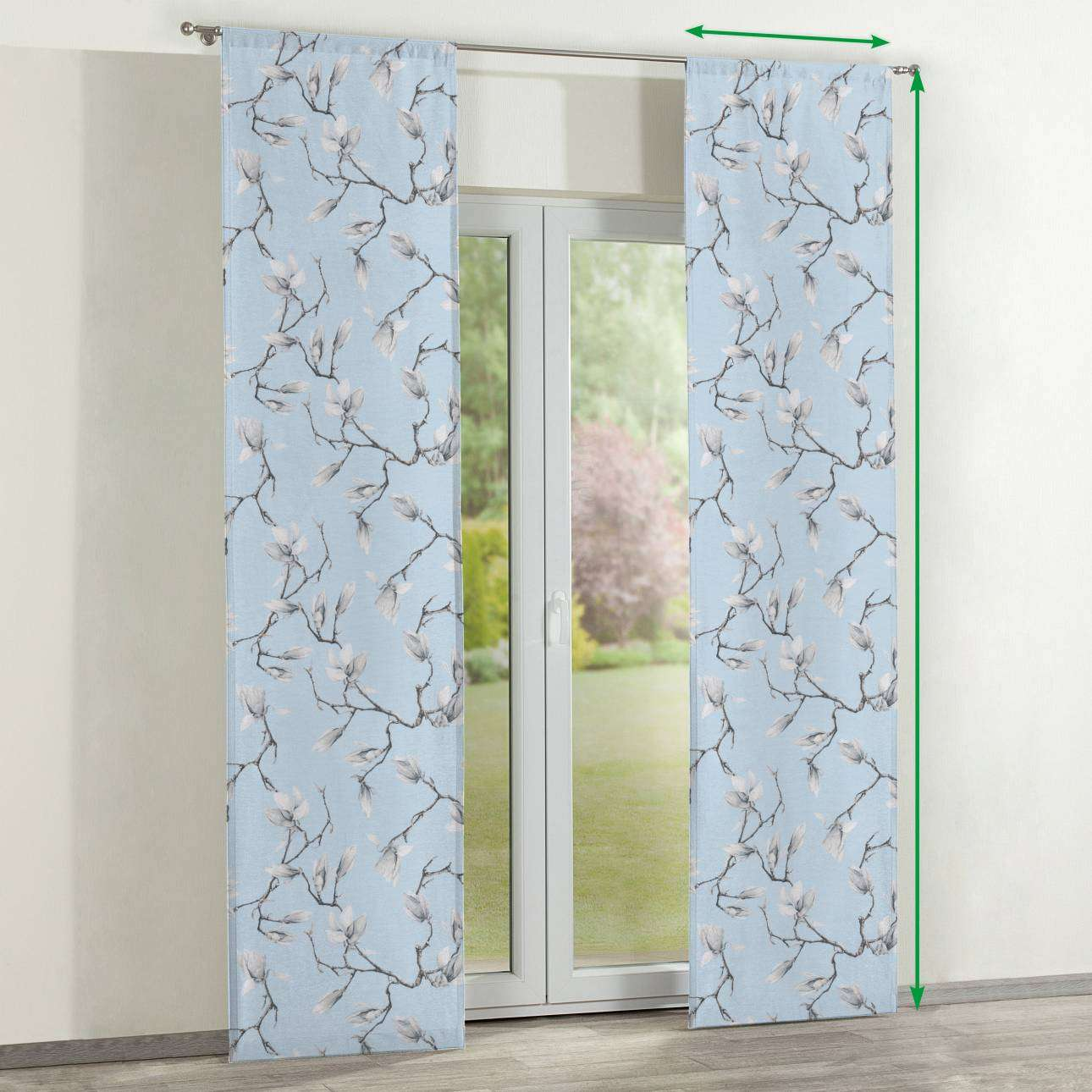 Slot panel curtains – Set of 2 in collection Flowers, fabric: 311-14