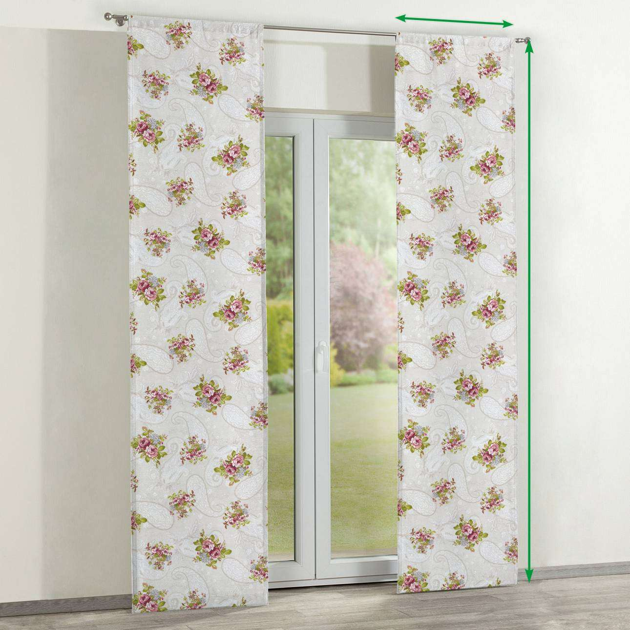 Slot panel curtains – Set of 2 in collection Flowers, fabric: 311-15