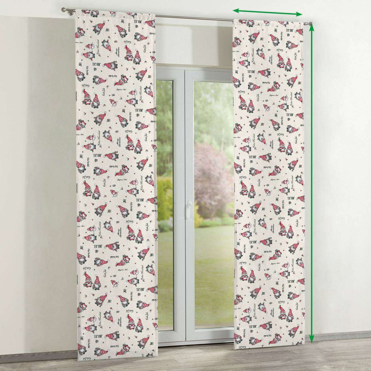 Slot panel curtains – Set of 2 in collection Christmas , fabric: 629-28