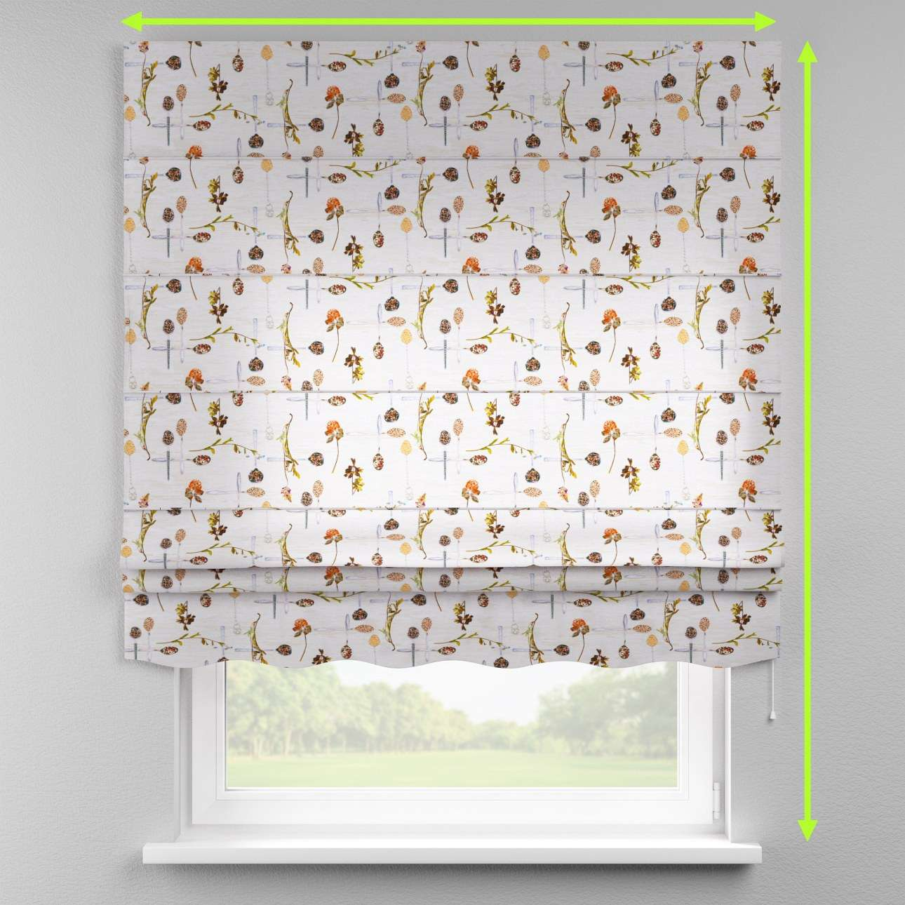 Florence roman blind  in collection Flowers, fabric: 140-11