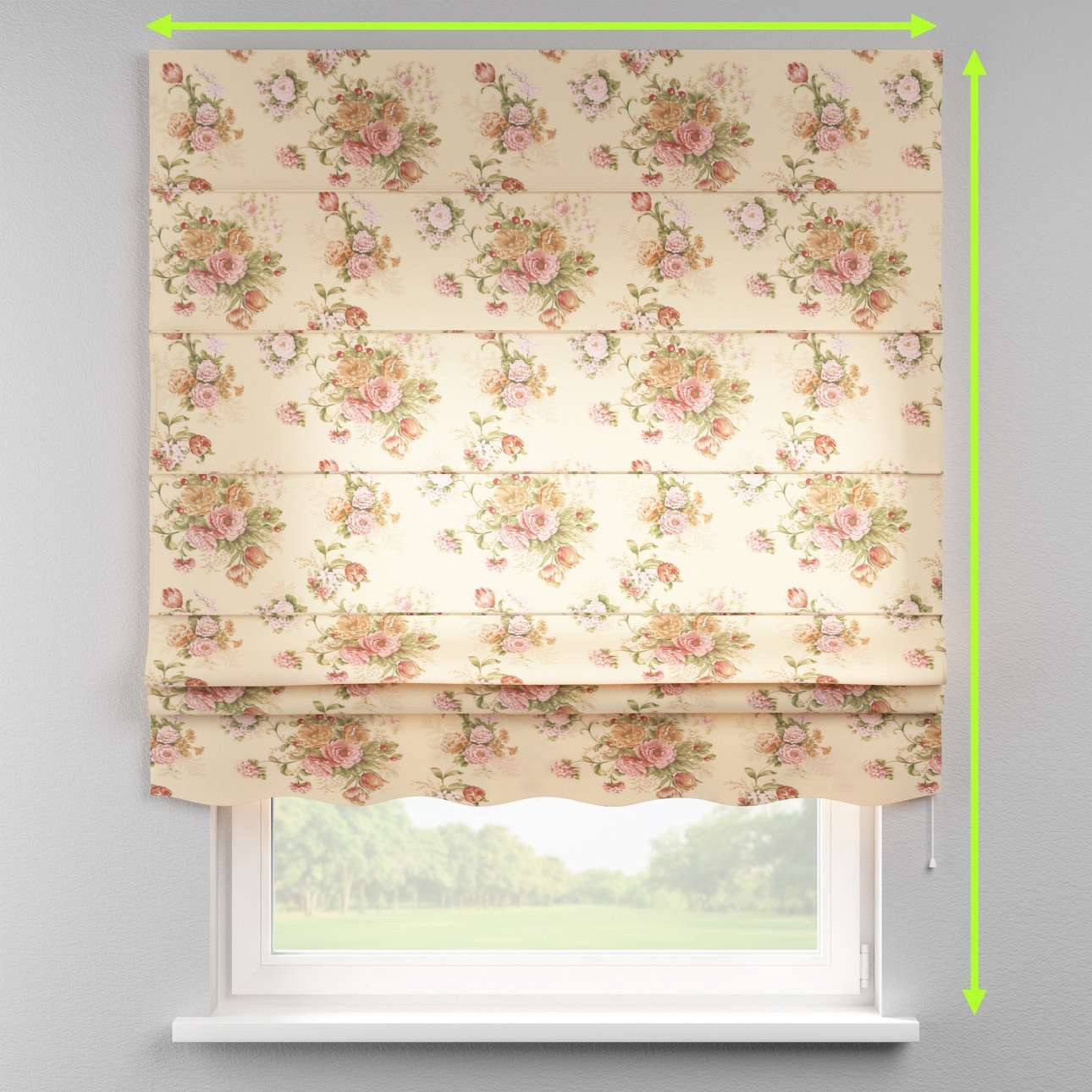 Florence roman blind  in collection Flowers, fabric: 302-01