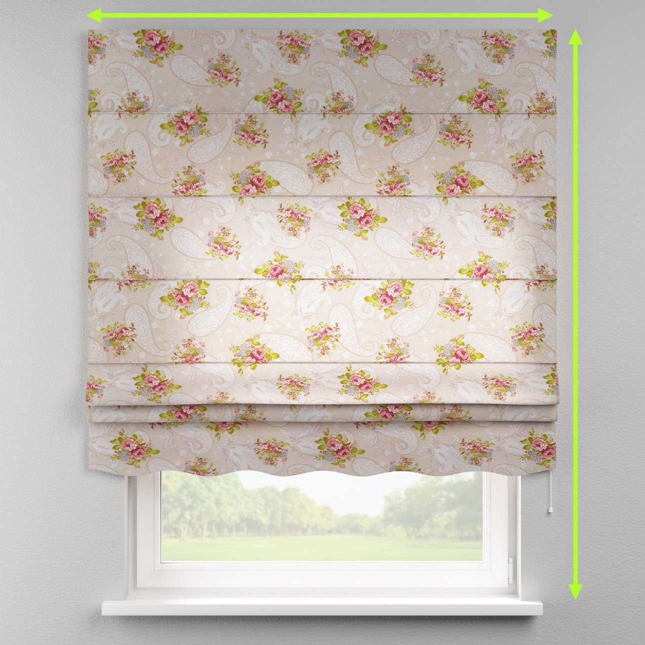 Florence roman blind  in collection Flowers, fabric: 311-15