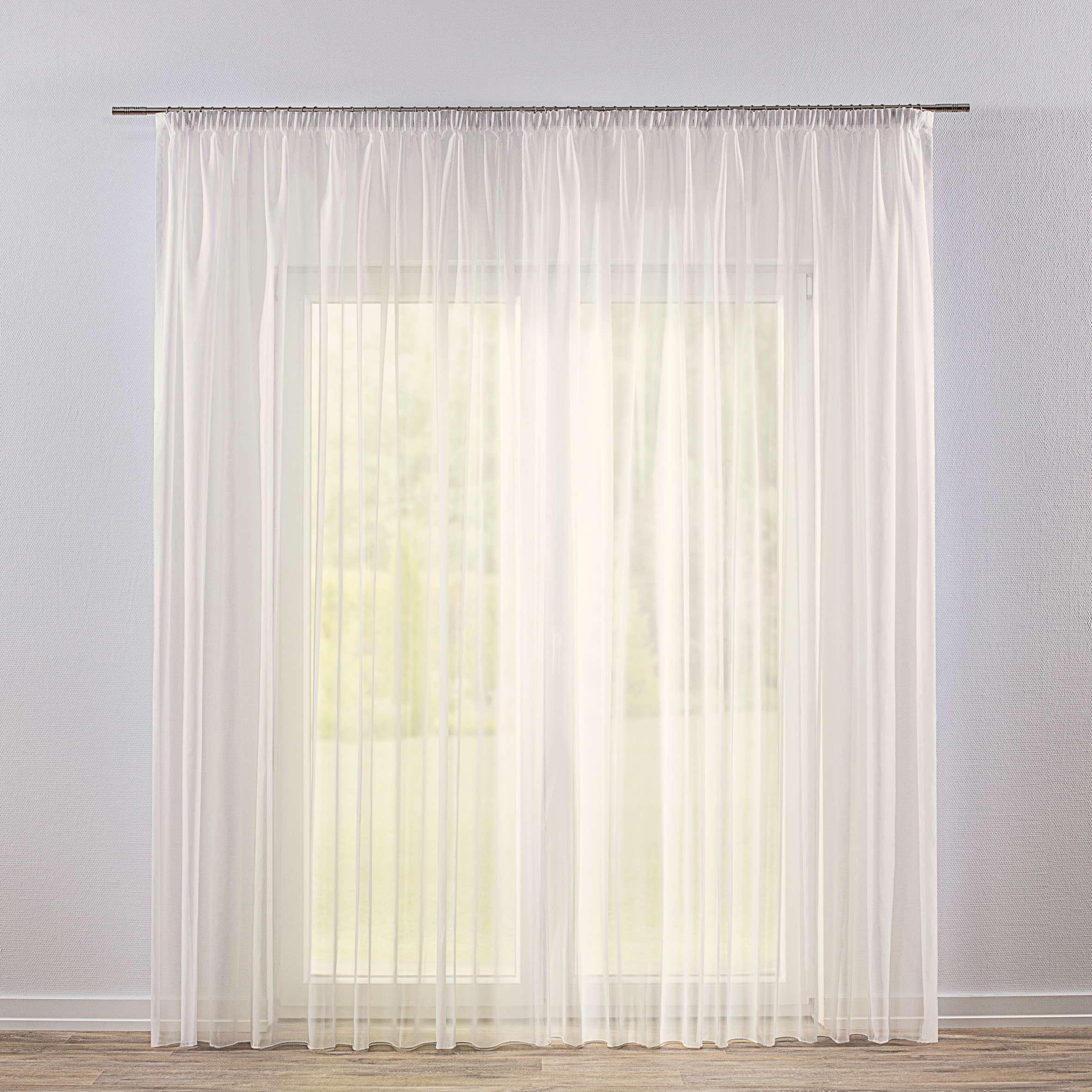 Záclona voálová jednoduchá s řasící páskou na míru v kolekci Voile - Voál, látka: 901-01
