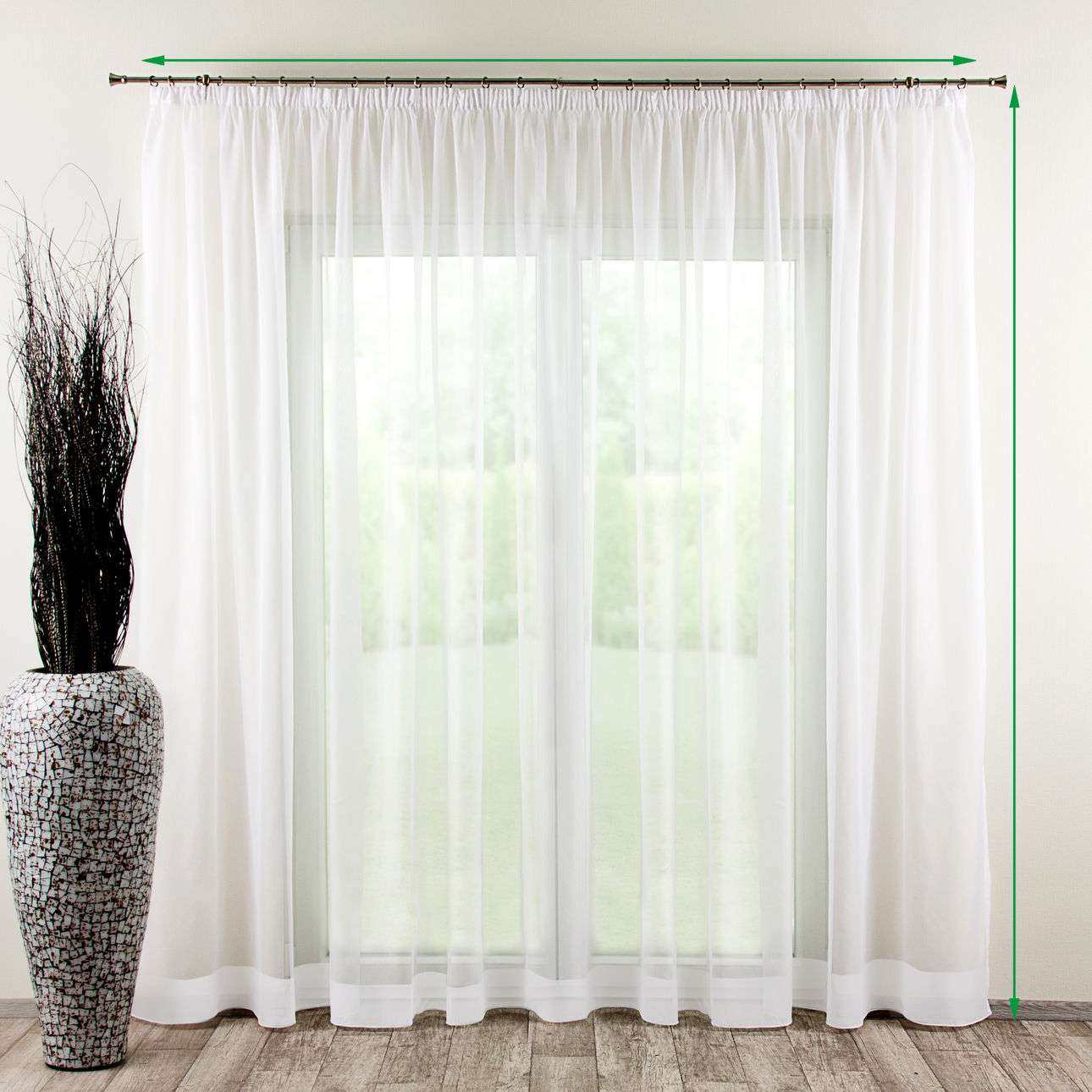 Pencil pleat voile/net curtain in collection Voile, fabric: 900-00