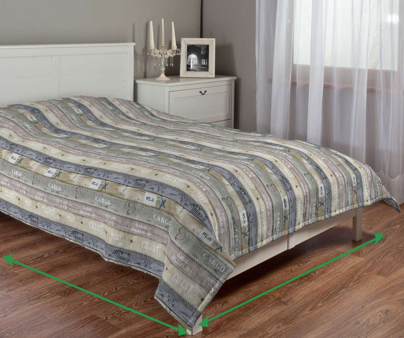 Quilted throw (vertical quilt pattern) in collection Marina, fabric: 140-16