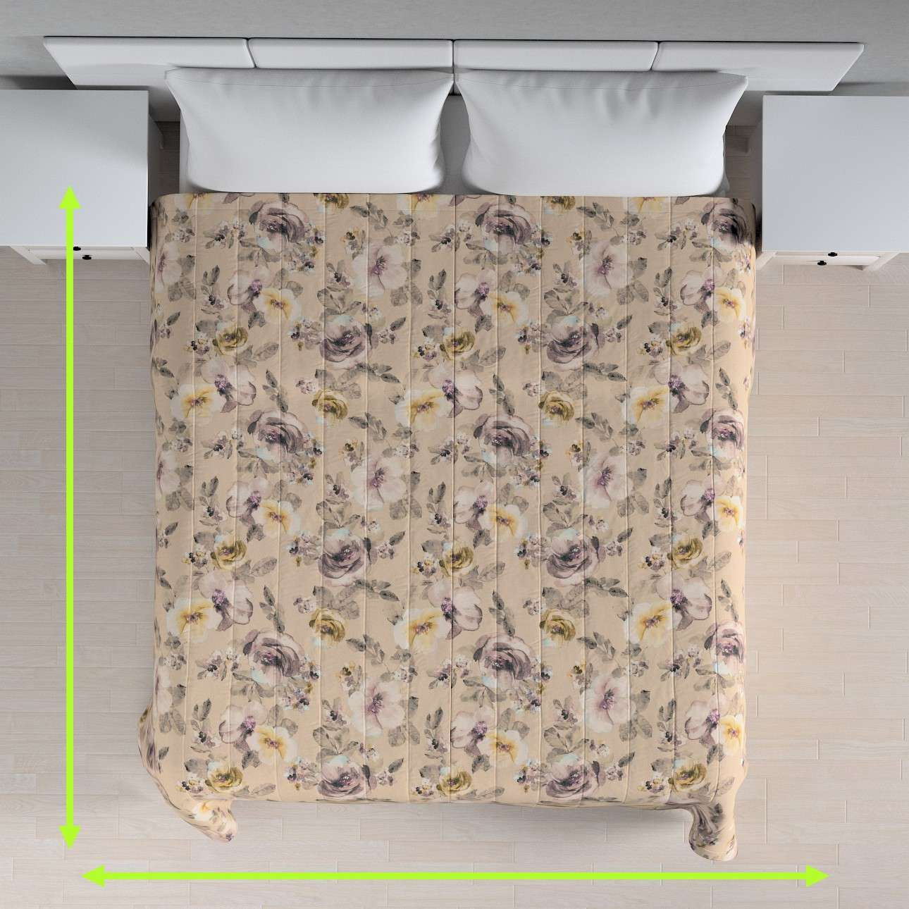 Quilted throw (vertical quilt pattern) in collection Londres, fabric: 140-44