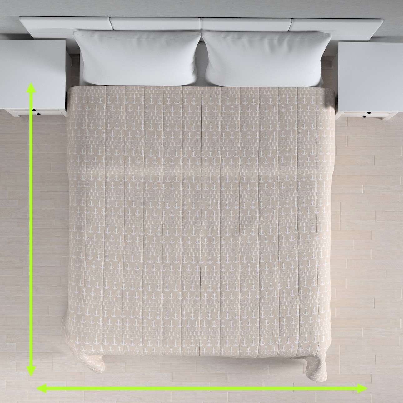 Quilted throw (vertical quilt pattern) in collection Marina, fabric: 140-63