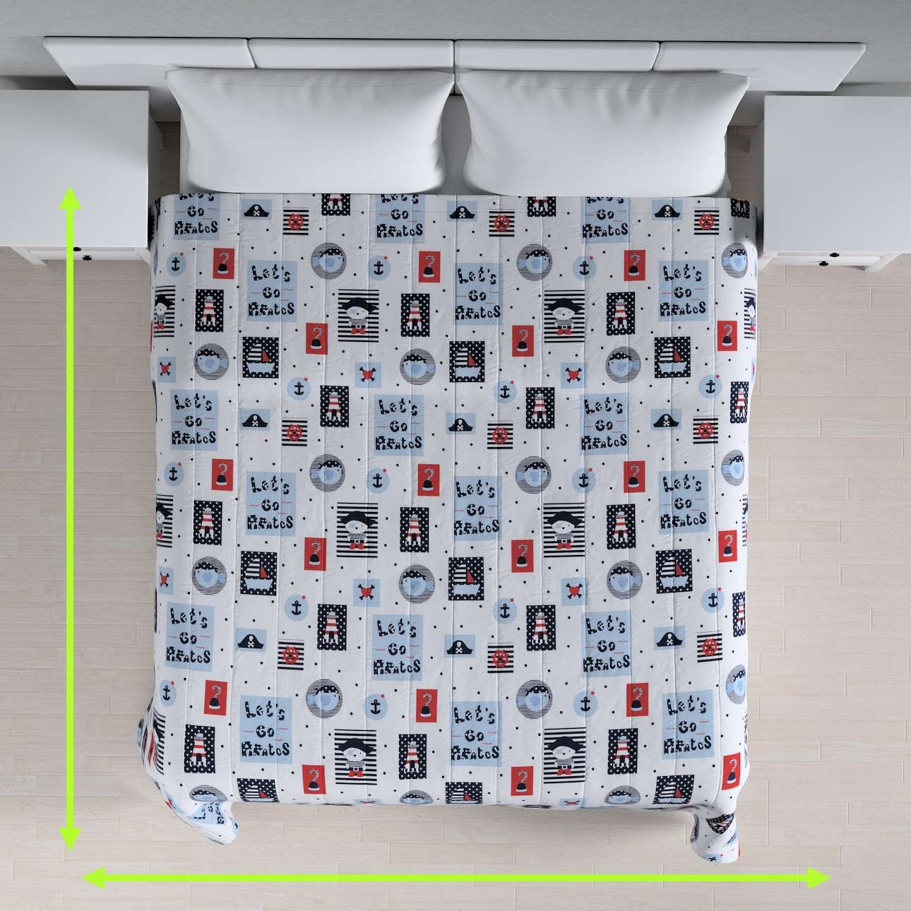 Quilted throw (vertical quilt pattern) in collection Little World, fabric: 141-29