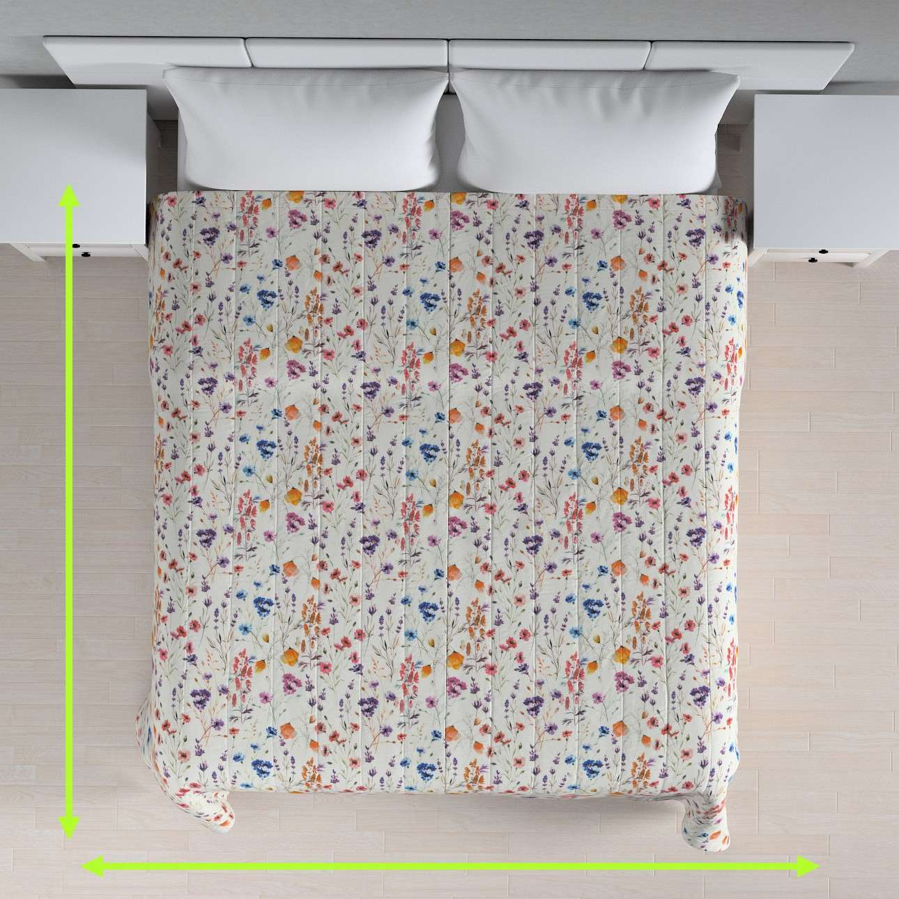Quilted throw (vertical quilt pattern) in collection Flowers, fabric: 141-53