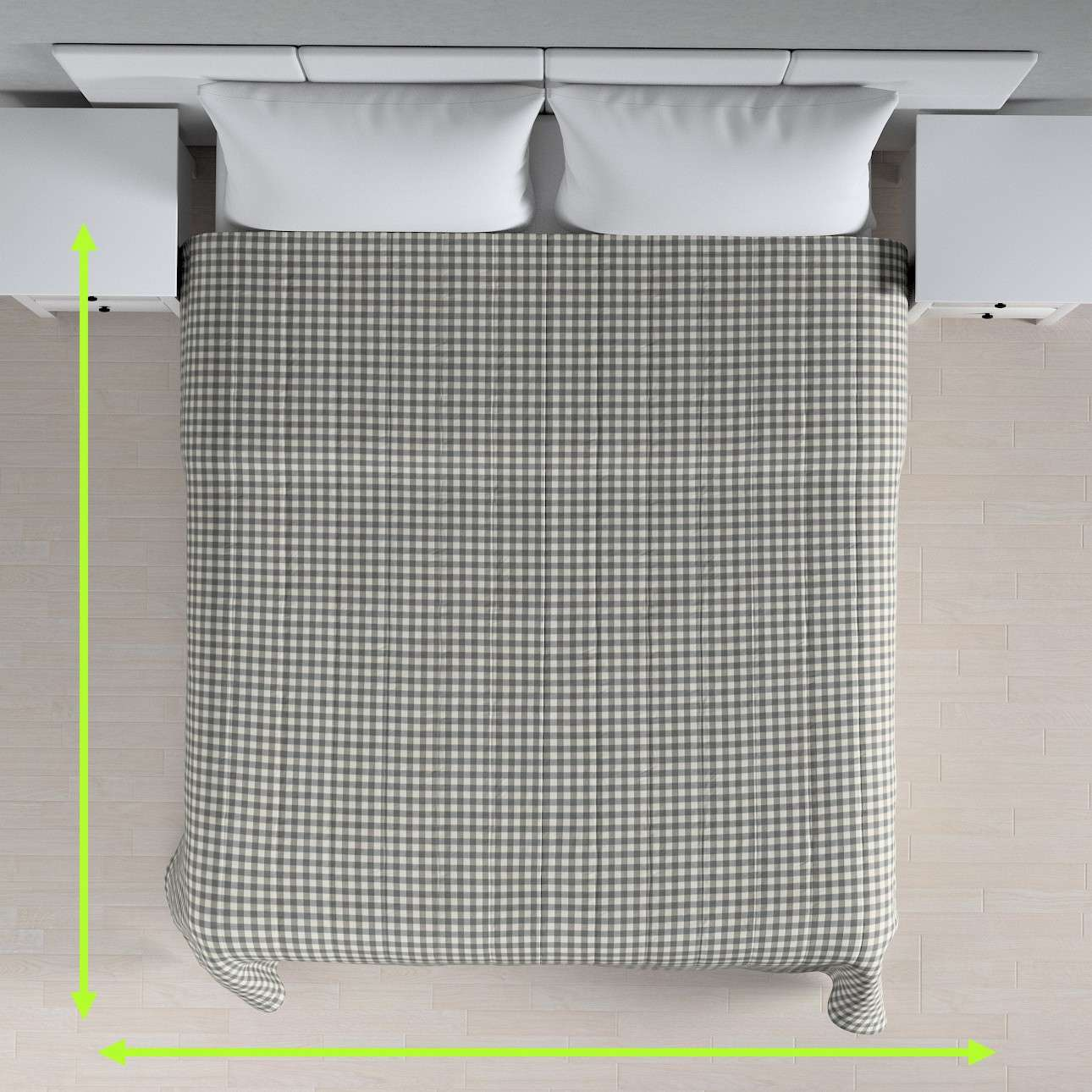 Sengeteppe quiltet<br/>10cm striper fra kolleksjonen Quadro, Stoffets bredde: 136-11