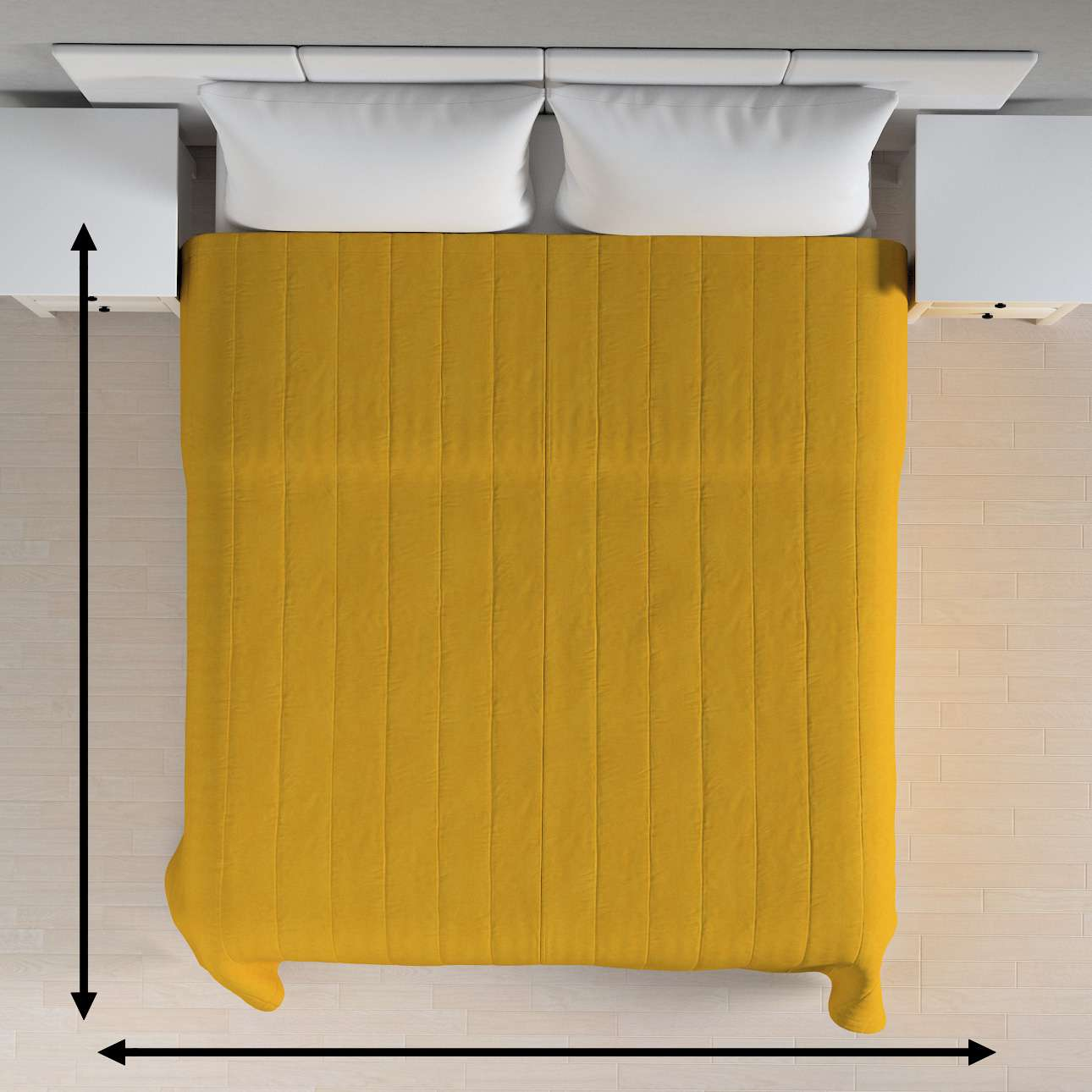 Sengetæppe quiltet<br/>10cm striber fra kollektionen Etna, Stof: 705-04