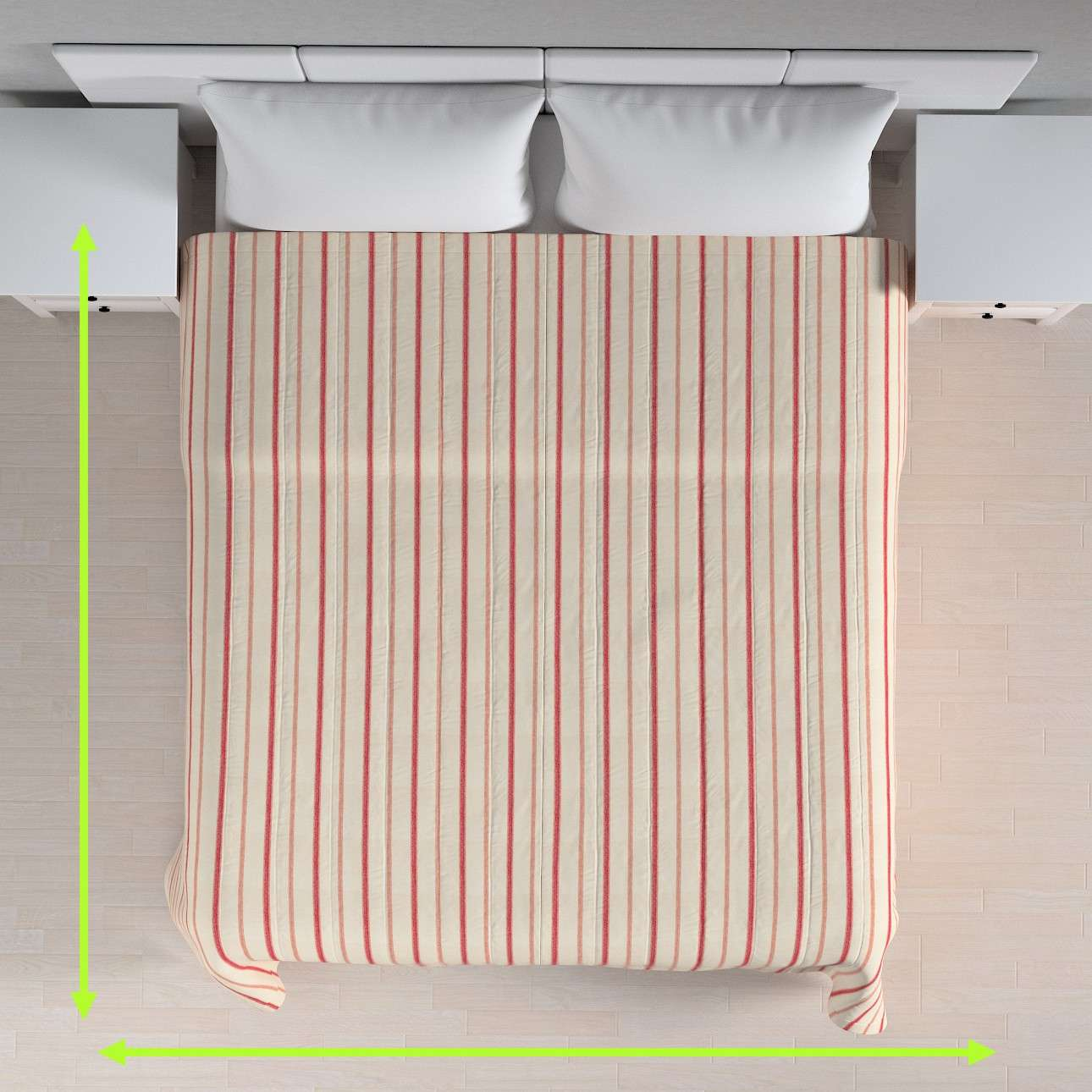 Sengetæppe quiltet<br/>10cm striber fra kollektionen Avinon, Stof: 129-15