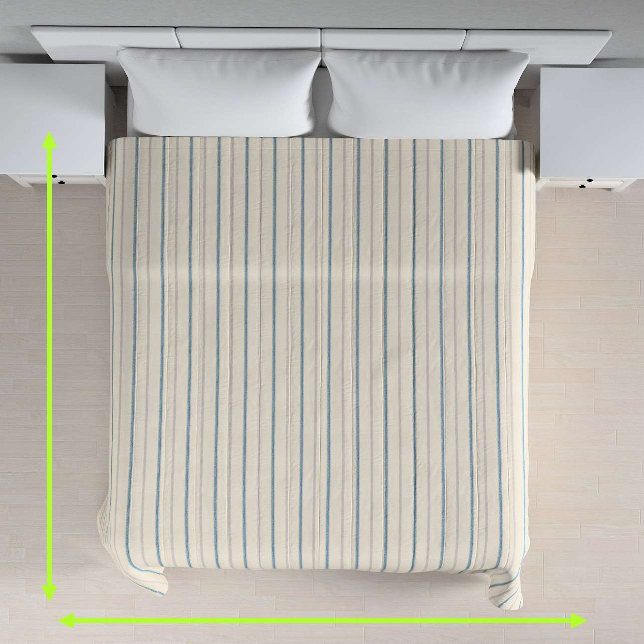 Sengetæppe quiltet<br/>10cm striber fra kollektionen Avinon, Stof: 129-66