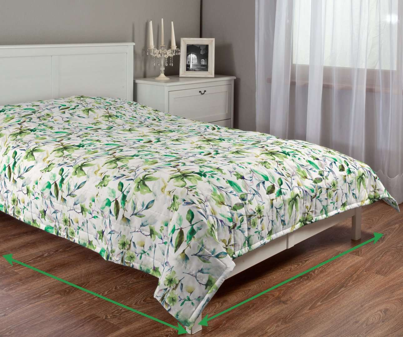 Sengetæppe quiltet<br/>10cm striber fra kollektionen Velvet, Stof: 704-20