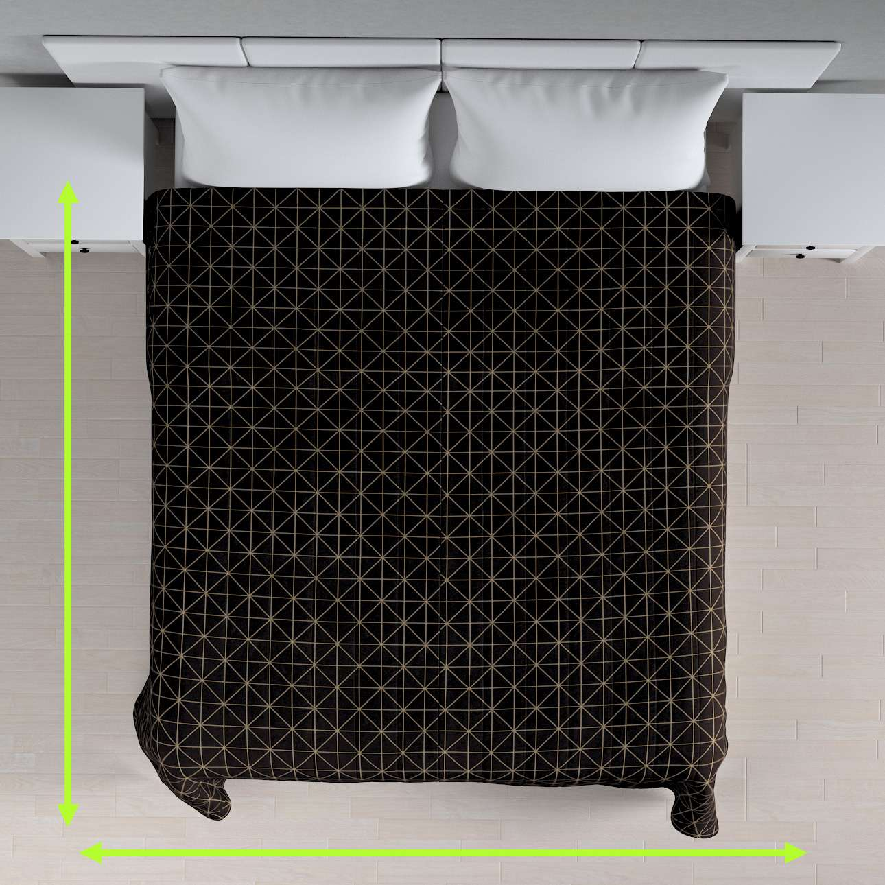 Tagesdecke mit Streifen-Steppung von der Kollektion Black & White, Stoff: 142-55