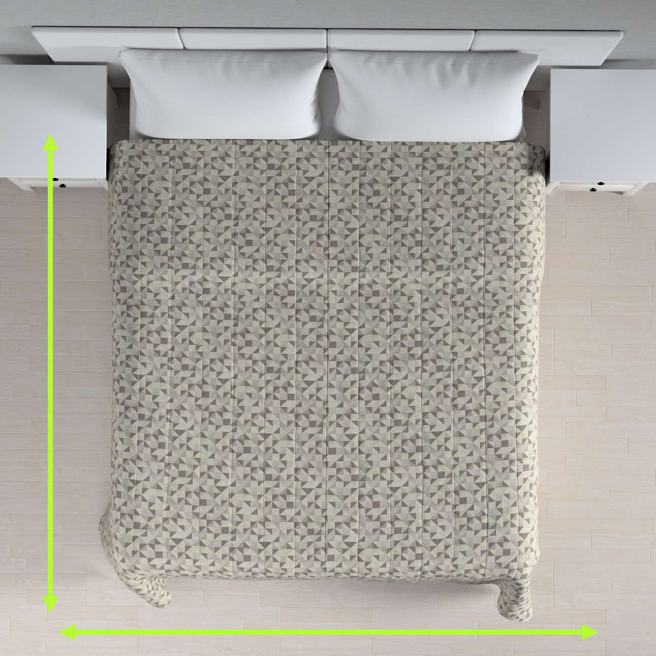 Sengetæppe quiltet<br/>10cm striber fra kollektionen Retro Glam, Stof: 142-85